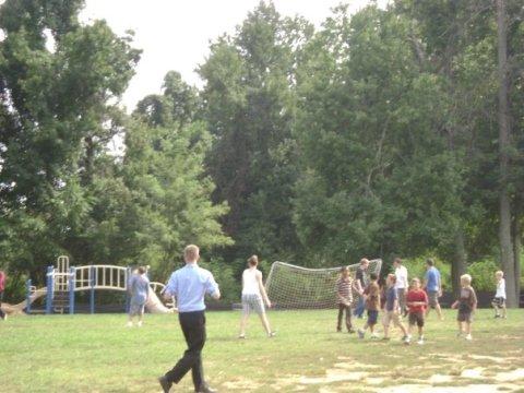 A random soccer game, begun by the stars of the CUA seminarian soccer team.