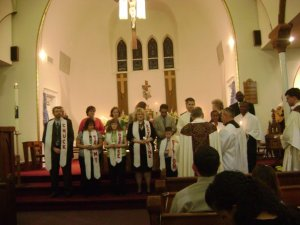 Our eight spiritual babies at the Easter Vigil